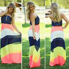 Multicolor Color Block Bandeau Sexy Maxi Dress #Colorful #Navy #White #Coral #Yellow #Multcolor #Stripes #Maxi #Dress #Summer #Outfit #Ideas #Beach #Fashion