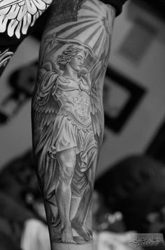Angelic tattoos are always interesting. Interestingly, among the archangel tattoos, St Michael Tattoo design is one of the extremely popular one. Forearm Tattoos, Body Art Tattoos, New Tattoos, Tribal Tattoos, Tattoos For Guys, Sleeve Tattoos, Tatoos, Tattoo Ink, Archangel Michael Tattoo