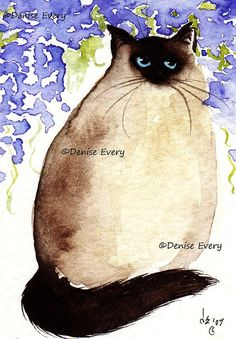 Cat Art Print ACEO Ragdoll Himalayan Cat Art Wisteria ACEO Cat Art Print Longhair Cat Art Cat Lover Cat Gift aceo art atc by Denise Every