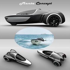 This futuristic-looking one-seater vehicle called Manta sports high speeds both on water and on land.  The designer of this compact EV is David Cardoso Loureiro.