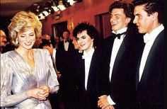 Diana meets Duran Duran and a certain amount of coyness ensues. Photographed at the Royal premiere of the James Bond film: 'A View To A Kill' in London, July 1985.