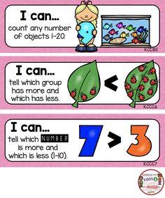 Kindergarten Goals, Kindergarten Lesson Plans, Kindergarten Common Core, Kindergarten Classroom, Teaching Math, Classroom Ideas, Learning Targets, I Can Statements, Math About Me