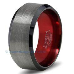 Red Chromacolor Black Gunmetal Beveled Tungsten Ring