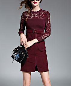 Wine Red Lace Overlay Sheath Dress