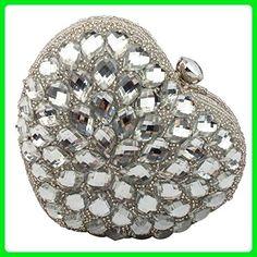 Moogr Womens Crystals Heart-shaped Rhinestones Evening Bag Silver - Evening bags (*Amazon Partner-Link)