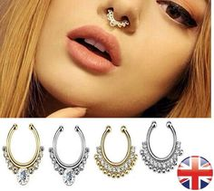 Fake Septum Ring Designs Colours Clip-On Gem Nose Hoop Indian Non-Pierced
