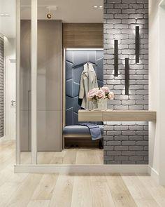 Modern large mirror in the interior fitting – examples and tips – Decor Corridor Design, Hall Design, Home Entrance Decor, Entryway Decor, Home Decor, Condo Living, Living Room Tv, Hall Interior, Interior Design