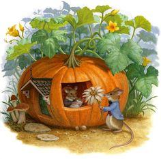 illustration by American artist and illustrator - Ruth Sanderson ) Susan Wheeler, Maus Illustration, Illustrations, Art Fantaisiste, Pumpkin House, Art Mignon, Fairytale Art, Woodland Creatures, Whimsical Art