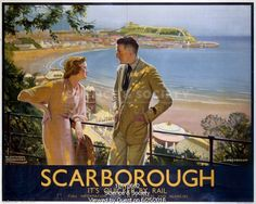 Scarborough - It's Quicker by Rail - British Rail poster, ca. Posters Uk, Railway Posters, Train Posters, Space Posters, British Travel, British Seaside, British Isles, British Holidays, National Railway Museum