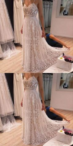 A-Line Prom Dresses,Spaghetti Straps Prom Dresses,Light Champagne Prom Dresses,Beaded Prom Dresses,Lace Appliques Prom Dresses,Prom Dresses 2017,Party Dresses,Wedding Dresses 2017,Bridal Dresses