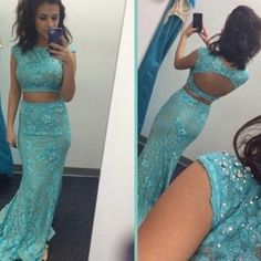 Prom Dress Princess, Two Piece Blue Bateau Neck Court Train Lace Crop Tops Trumpet Mermaid Prom Evening Dress Shop ball gown prom dresses and gowns and become a princess on prom night. prom ball gowns in every size, from juniors to plus size. Blue Lace Prom Dress, Prom Dresses Two Piece, Prom Dresses Blue, Mermaid Prom Dresses, Dresses Uk, Nice Dresses, Wedding Dresses, Dresses 2016, Dress Lace