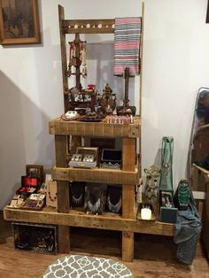 pallet jewelry rack or holder - Vintage #Pallet Furniture Designs for Shop | Pallet Furniture