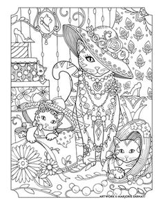 cats and hats ~ Pampered Pets Adult Coloring Book by Marjorie Sarnat