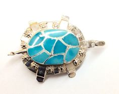 Sterling Silver Native American Inlay Turquoise Turtle Pin Or Pendant.