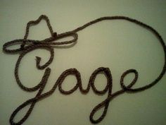 retro little cowboy lasso | Rope Art for a cowboy themed nursery