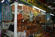 Market stand, clay dishes, mercado Juarez, Monterrey, Mexico