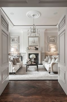 Formal living room in light greys and white
