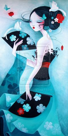 The Modern GEISHA ✿ :: Geisha Illustration -  Colombes by LadySybile on deviantart