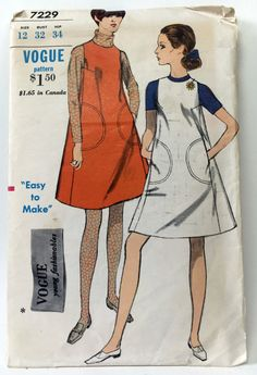 Vogue 7229, c. 1967  Easy to Make One Piece Jumper. Tent shaped jumper with jewel neckline and square armholes.