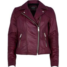 River Island Dark pink leather biker jacket (135 CAD) ❤ liked on Polyvore featuring outerwear, jackets, coats, leather jackets, tops, sale, motorcycle jacket, purple leather jacket, quilted jacket and quilted moto jacket