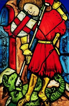 Stained glass of St. George, Southern German, 1400-10