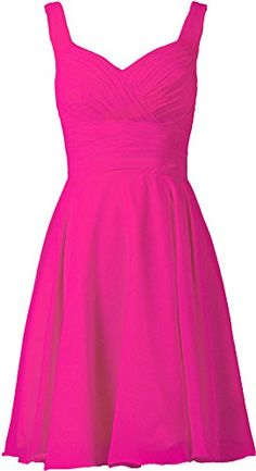ANTS Women's V-neck Chiffon Bridesmaid Dresses Short Prom Gown Size 14 US Hot Pink ANTS
