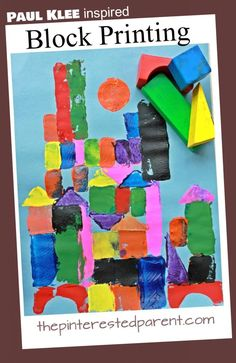 Printmaking for kids. Famous artist inspired arts and crafts for kids Paul Klee inspired block printed paintings. Printmaking for kids. Famous artist inspired arts and crafts for kids Paul Klee, Classe D'art, Ecole Art, Art Classroom, Art Club, Art Plastique, Elementary Art, Elementary Education, Teaching Art