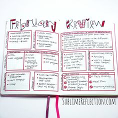 Bullet Journal Q&A - Sublime Reflection Bullet journal layout ideas Bullet Journal Inspo, Bullet Journal Reflection, February Bullet Journal, Bullet Journal Spread, Bullet Journal Layout, Bullet Journal Ideas Pages, Journal Prompts, Bullet Journals, Daily Journal
