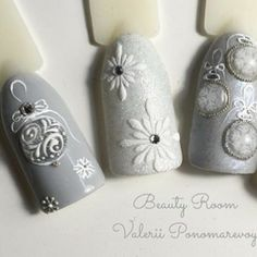 Winter 2017 elegant silver holidays Christmas nail art