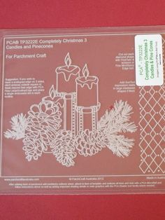 PCA EMBOSSING TEMPLATE 3222E - COMPLETELY CHRISTMAS CANDLES AND PINE CONES      Easy Embossing Template Completely Christmas - Candles and Pine Cones. Use a micro ball tool to create beautiful festive cards and decorations.  Simply place the parchment over the template and follow the lines with a ball tool. PCA recommend lubricating the parchment with a tumble dryer sheet before embossing.
