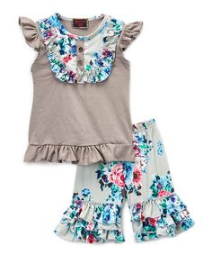 Loving this Gray Floral Angel-Sleeve Top & Capri Pants - Infant, Toddler & Girls on #zulily! #zulilyfinds