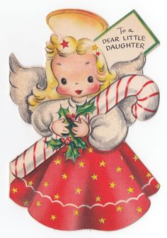 Vintage Greeting Card Christmas Angel Candy Cane Glitter Hallmark 1940s Die Cut  | eBay