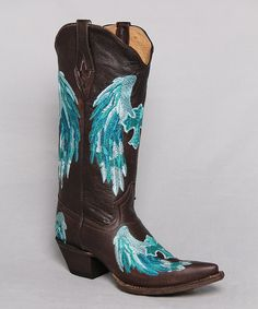 This Brown & Turquoise Embroidered Cross & Wings Leather Cowboy Boot by Tanner Mark Boots is perfect! #zulilyfinds