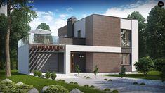 ПРОЕКТ СТИЛЬНОГО ЗАГОРОДНОГО ДВУХЭТАЖНОГО ДОМА С ГАРАЖОМ <br> <br>Проектразработан для тех, кто предпочитает минимализм и строгость в архитектуре. Благодаря контрастной отделке панелями темного дерева и белой штукатуркой этот дом, выполненный в стиле хайтек, смотрится более стильно и динамично. Ш..
