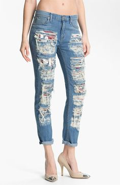 Hudson Jeans 'Courtney' Slashed Straight Leg Jeans (Anti-Establishment) available at Nordstrom