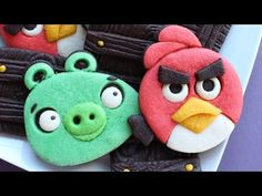 Angry birds cookies featuring piggy all done in colored cookie dough  - Detailed Video tutorial - YouTube.com/montrealconfections