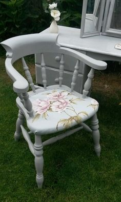 Shabby chic solid oak captains chair - Annie Sloan | eBay