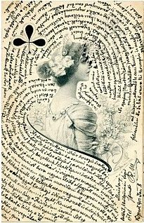 Lovely flowing script~Image via French Kissed Postcards