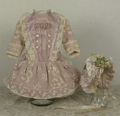 Wonderful Antique Embroidered French Lace Bebe Dress and Bonnet for JUMEAU, BRU or other French Bebe Doll