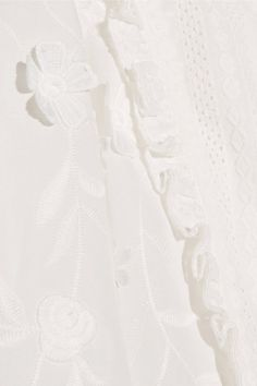 Anna Sui - Daisy Fields Silk-blend And Broderie Anglaise Cotton Blouse - White - US12