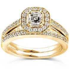 Annello 14k Gold 5/8ct TDW Asscher Diamond Bridal Halo Ring Set