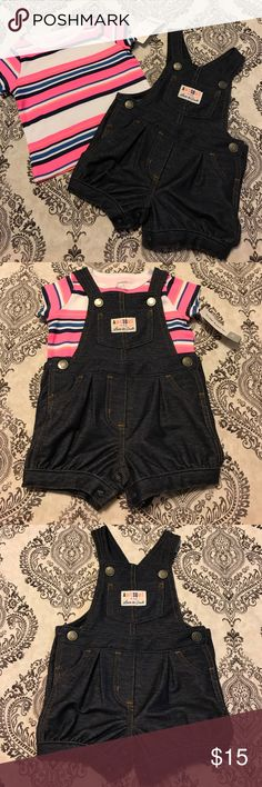 NWT Carter's Baby Girls 2piece Set NWT... made by Carter's....2 Piece Set...one short sleeve shirt and one short overalls Carter's Matching Sets