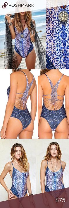 NWT Gypsy05 One-Piece Swimsuit w Macrame Detail, S Retail is $195 Low neckline, macramé detailing, low back, slight cheeky coverage. The colors are so vibrant and unique. 83% Polyester 17% Lycra Eco-Friendly Processes & Materials Made in USA (Hollywood) Model is wearing a size small Gypsy 05 Swim One Pieces