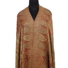 "Ibaexports Large Beige Wool Blend Jamawar Jacquard Shawl Paisley Weaving Wrap Stole India New 80"" X 40"" Inches IBA. $63.99"