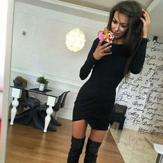 Fashion Long Sleeve Irregular Hem Bodycon Short Dress