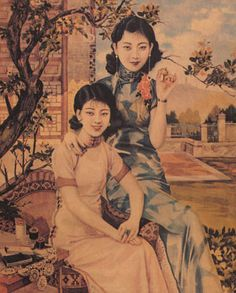 """Chinese beautiful girls art posters -  'Shanghai Girls' Pearl and Mai were """"beautiful girls"""" or models, who sold an image of the modern Chinese woman. Great Book"""