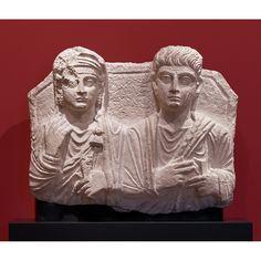Shalmat and Atenatan, 135 - 150 C. Hard white limestone, 19 × 24 × 4 in. Getty Villa, Palmyra, Iron Age, Roman Empire, Ancient Art, Romans, Copenhagen, Worship, Iris