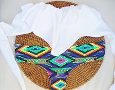 Brazilian Bikini Set-White Ruffle bandeau Top and Cheekie Bikini Bottoms in Huichol