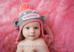 Suzys Craft Shoppe: Light Pink Crochet Sock Monkey Beanie- Brown with Pink Accents-