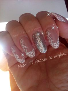 Wedding nails... Unghie sposa... Pizzo e rose